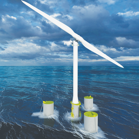 Offshore Wind Turbines with Teetering Hinge