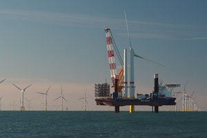 Installation vessel Aeolus working at the Norther offshore wind farm