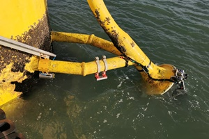 Subsea Innovations Dynamic Bend Stiffener DBS is a retrofit assembly that is installed onto turbine cables of an offshore wind farm