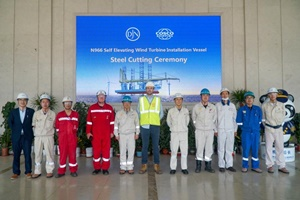 Steel cutting ceremony for the Voltaire at Cosco Shipyard China